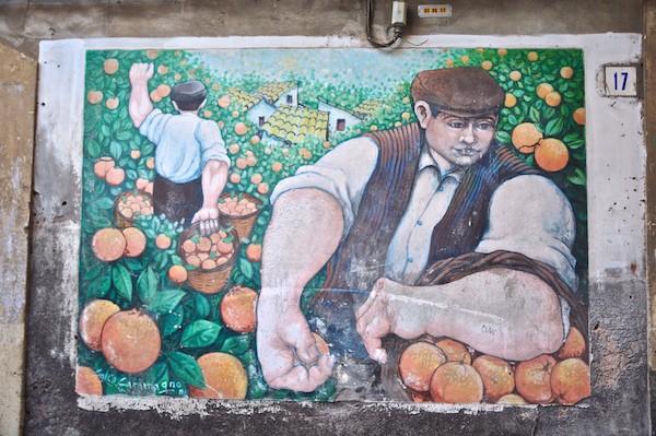 Muurschilderij in Mascalucia, Sicilië
